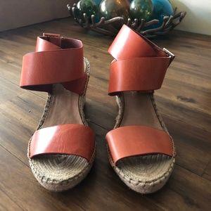 Burnt Orange Wedge Sandals